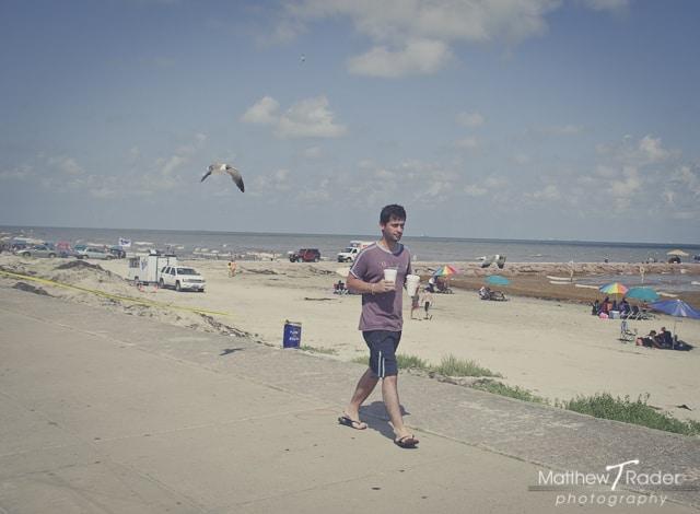 Man Walking on Beach being followed by Seagull on Galveston Island