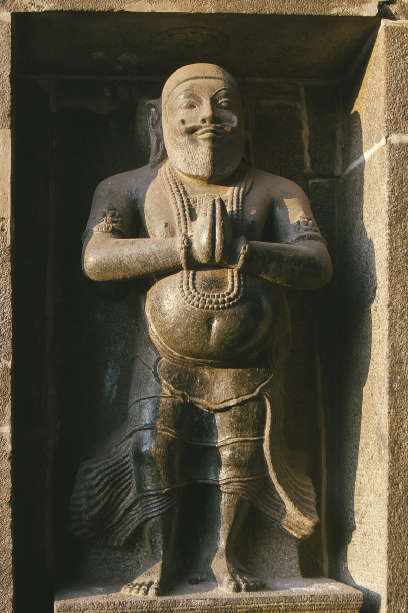 A stone relief of man at the Nataraja Temple, Chidambaram, India