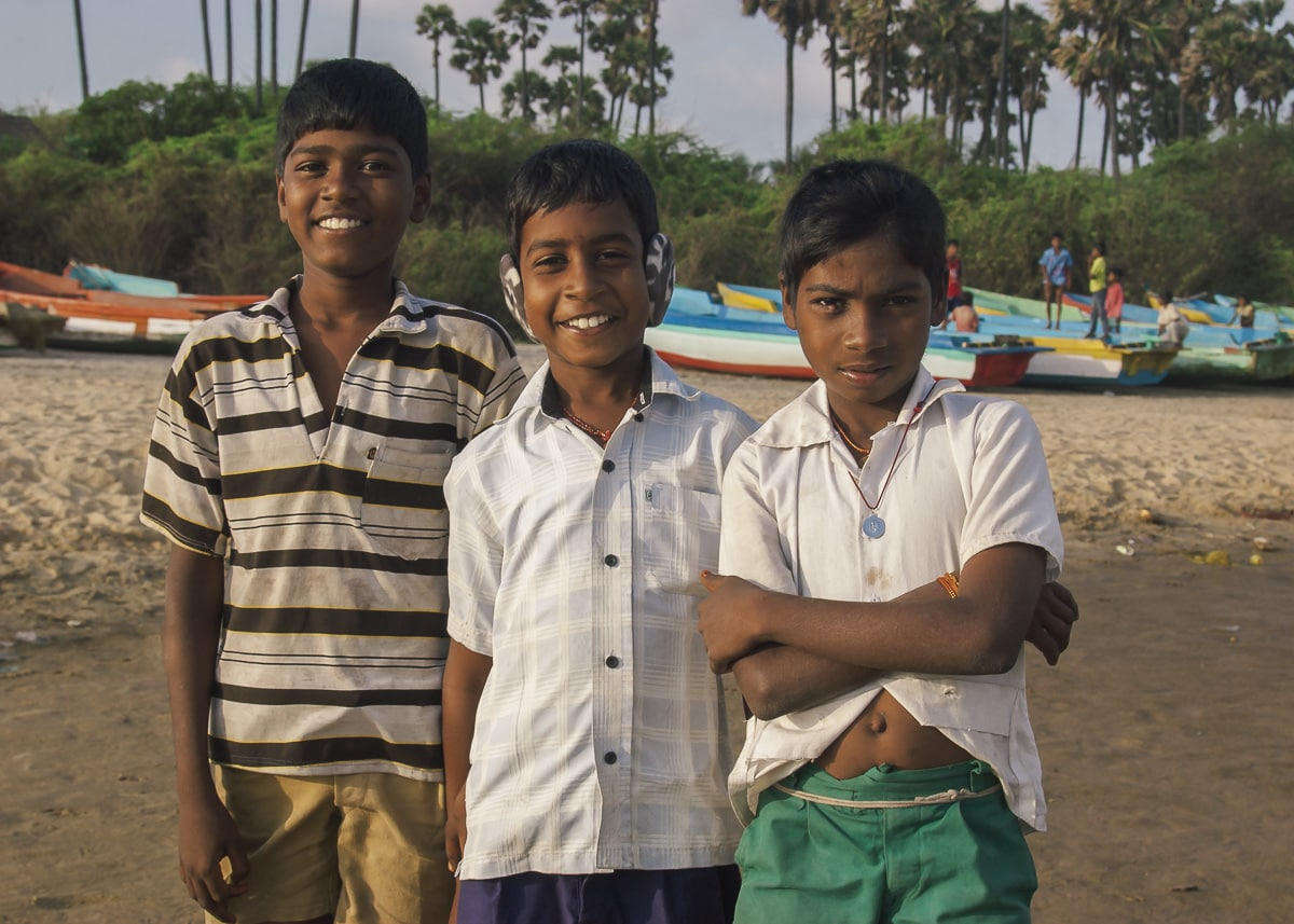 Children on Nagapattinam Beach