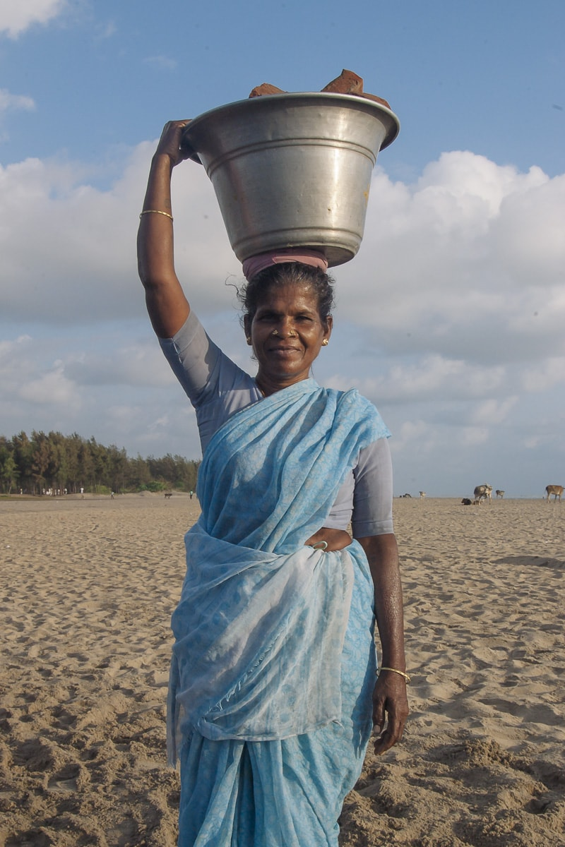 A woman on Nagapattinam Beach