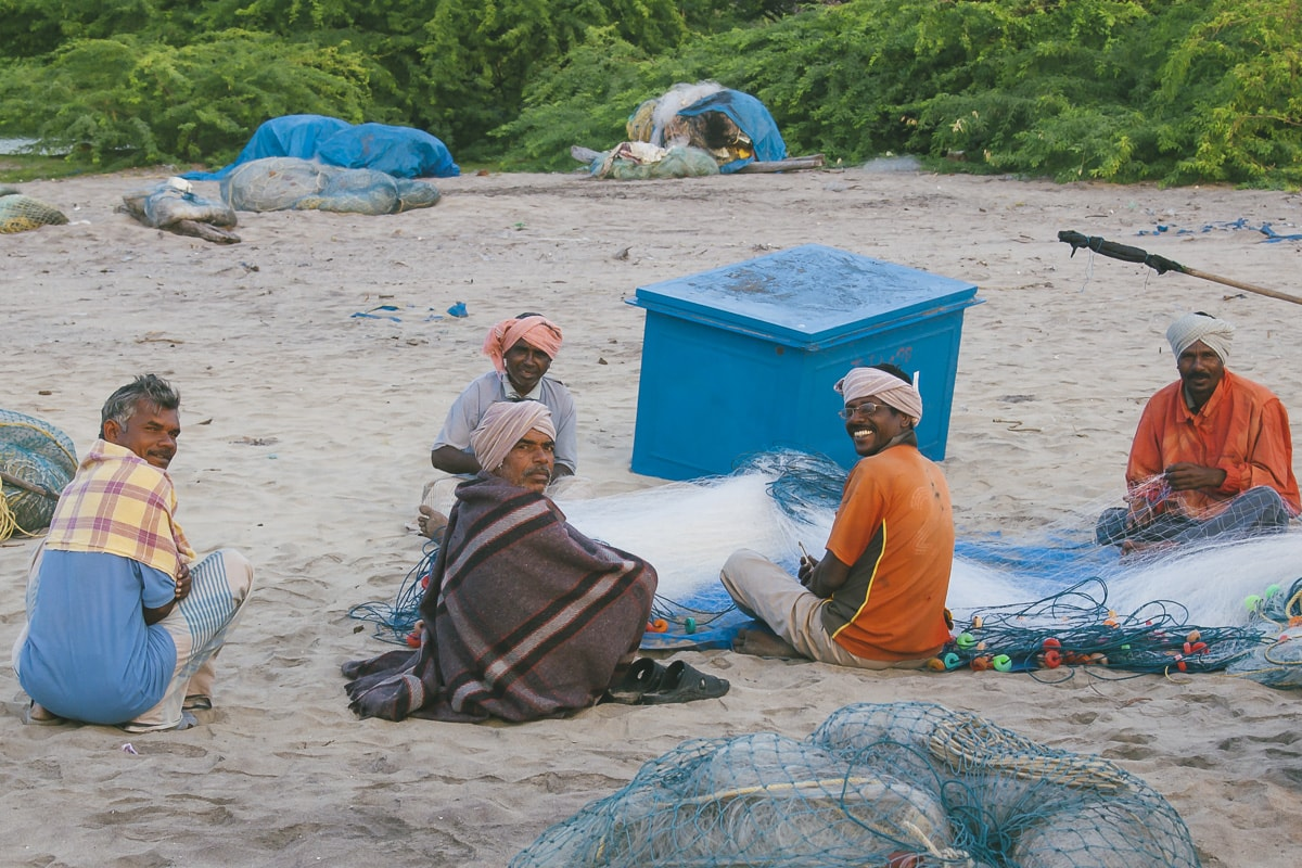 Fisherman preparing their nets on Nagapattinam Beach