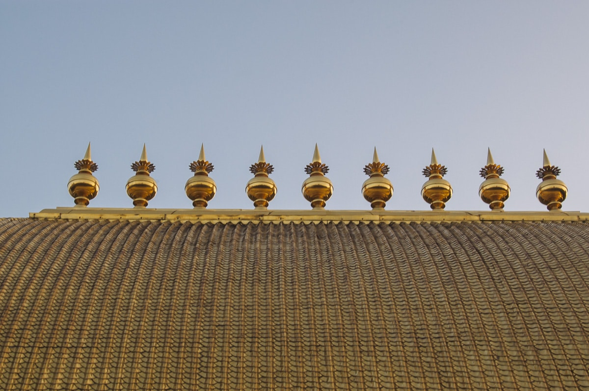The roof at the temple was gilded with gold