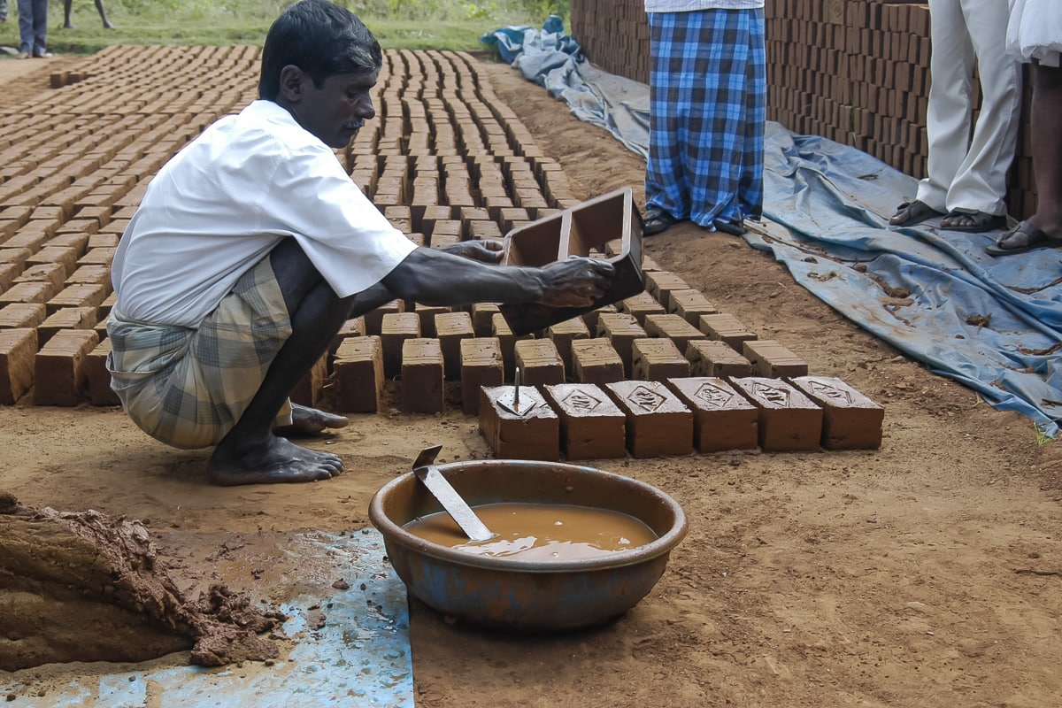 A man making bricks by hand