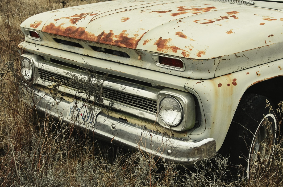 A deserted truck in a junk yard in Wills Point, Texas