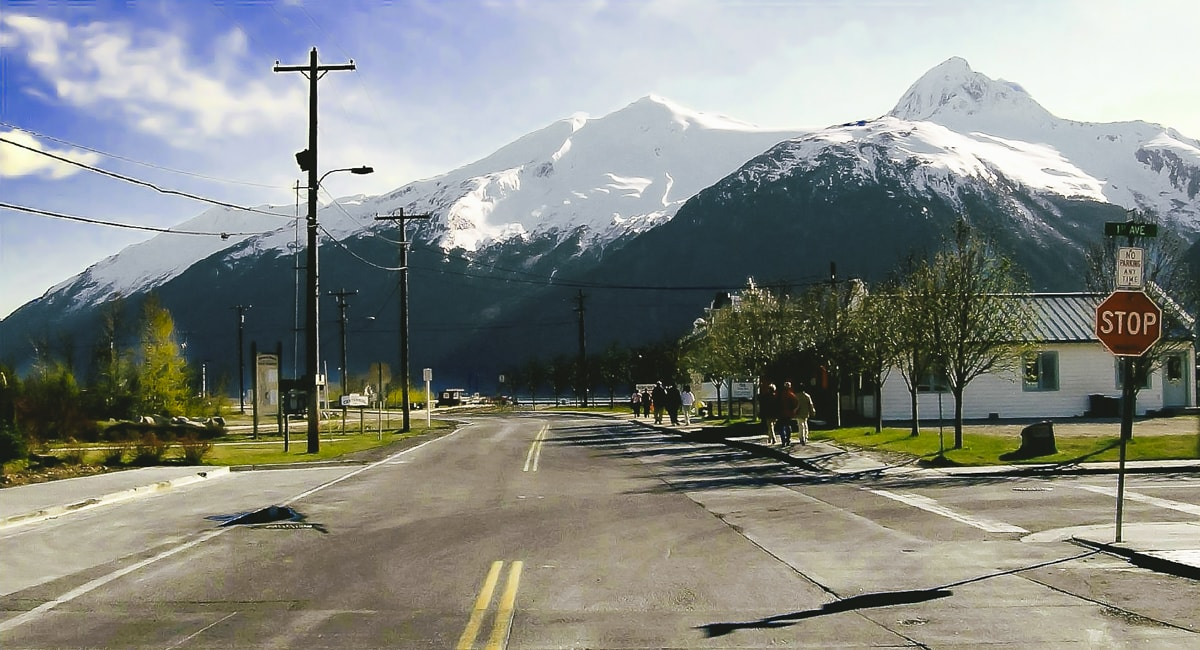 Mountain and street in Juneau Alaska