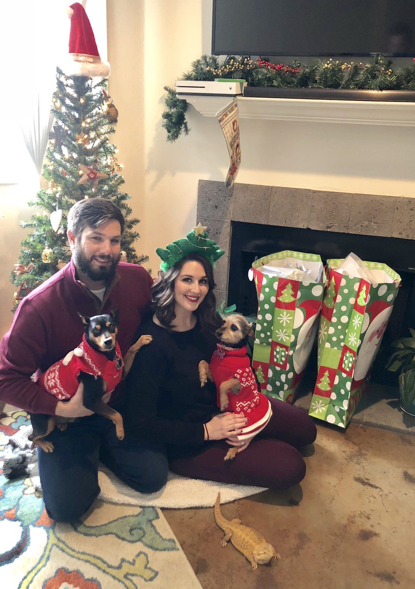 Family photo with Gambit on Christmas Day