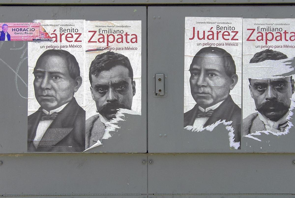 Juarez y Zapata posters in Guadalajara, Jalisco
