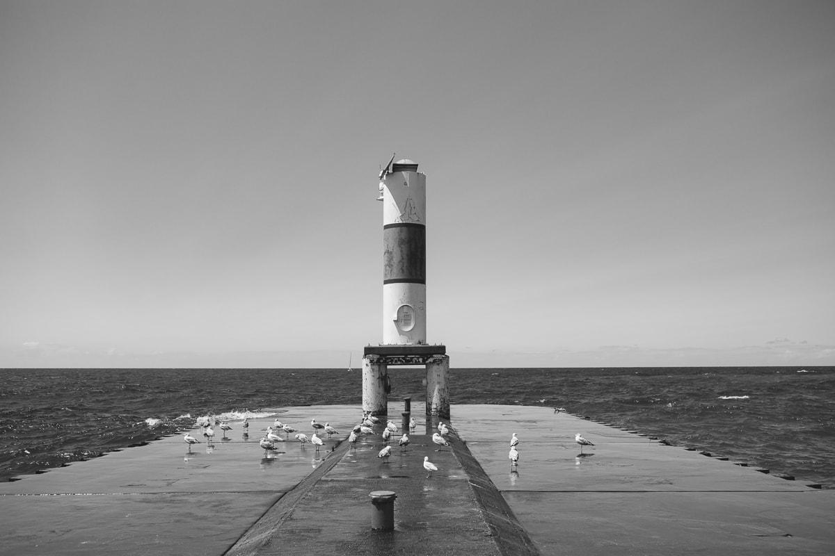 Holland Beach cement pier and Pier Light