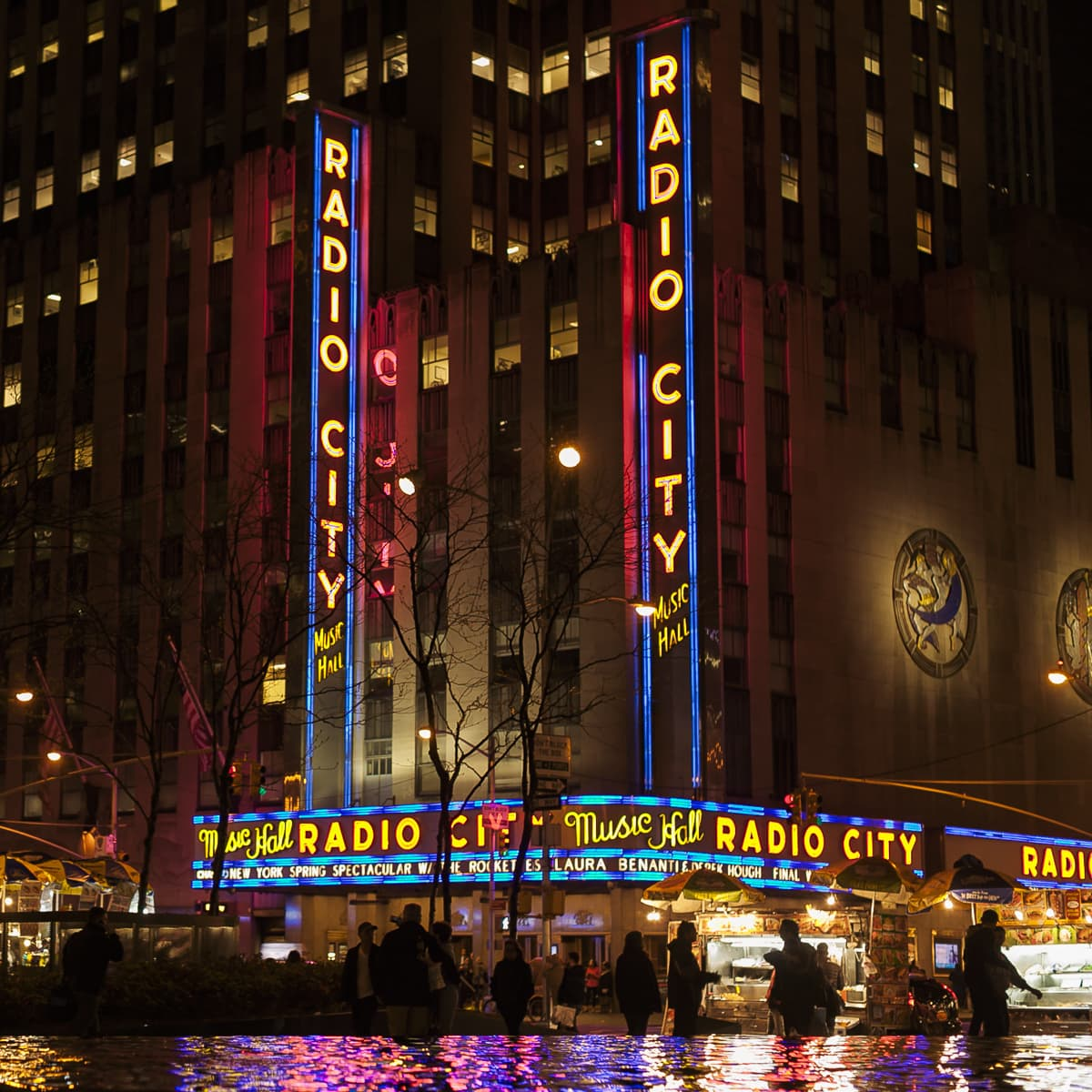 Radio City at night in NYC