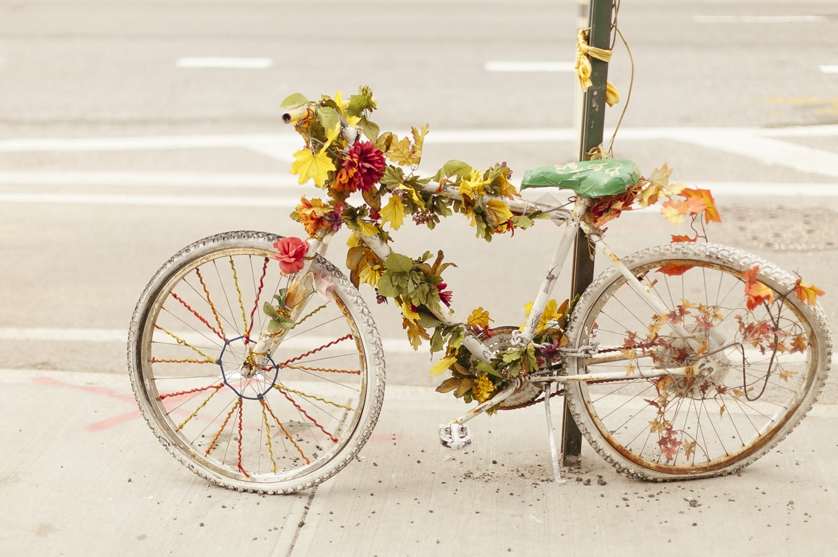 A ghost bike in New York City to honor a cyclist that has died