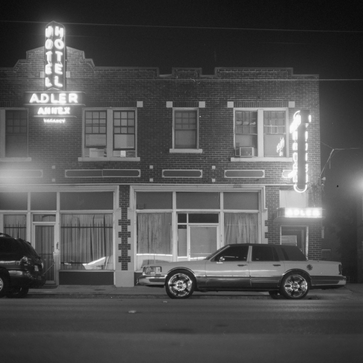 The Adler Hotel at night in the Old East Dallas neighborhood