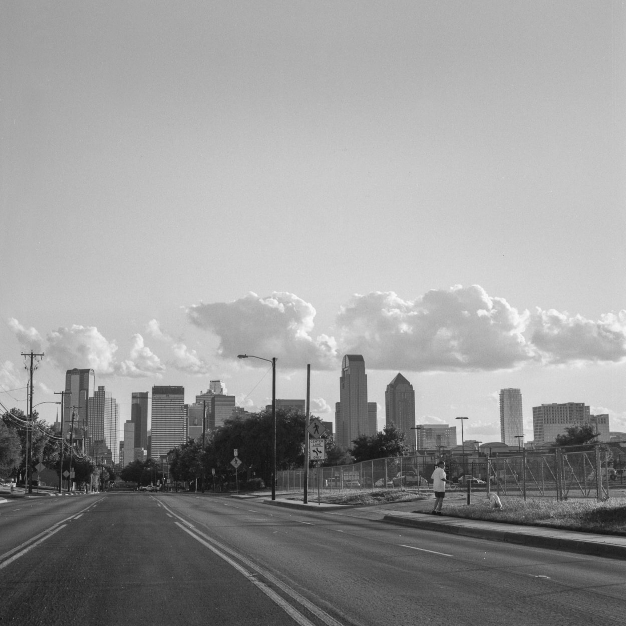 The Dallas skyline seen from Old East Dallas