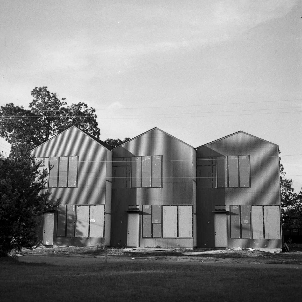 Three new townhouses that replaced an old house