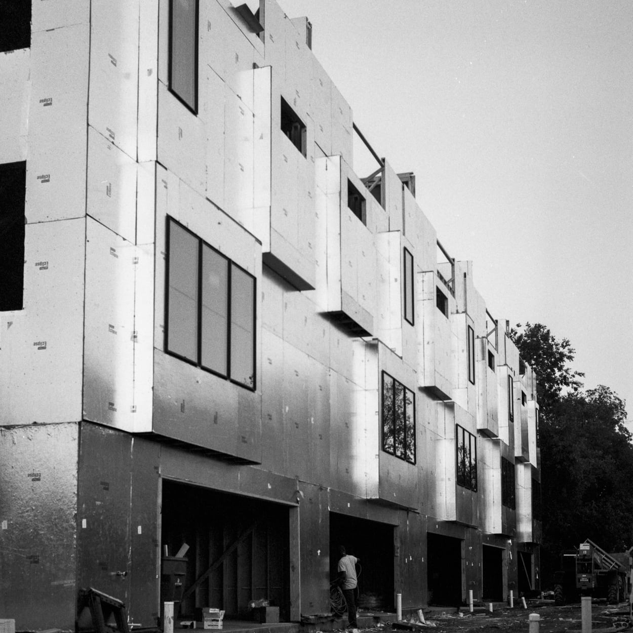 A row of townhouses under construction