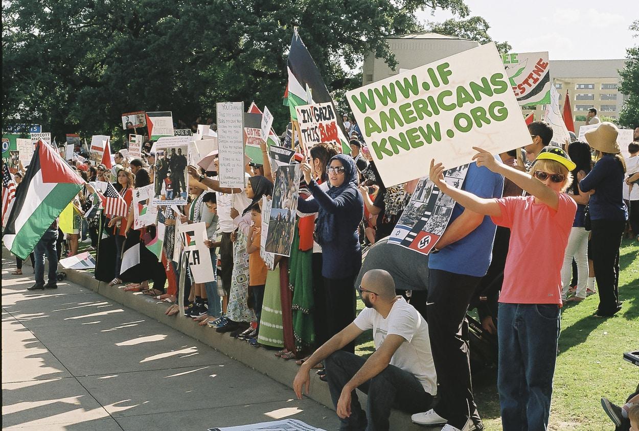 Palestinians protesting the Israeli assault on Gaza