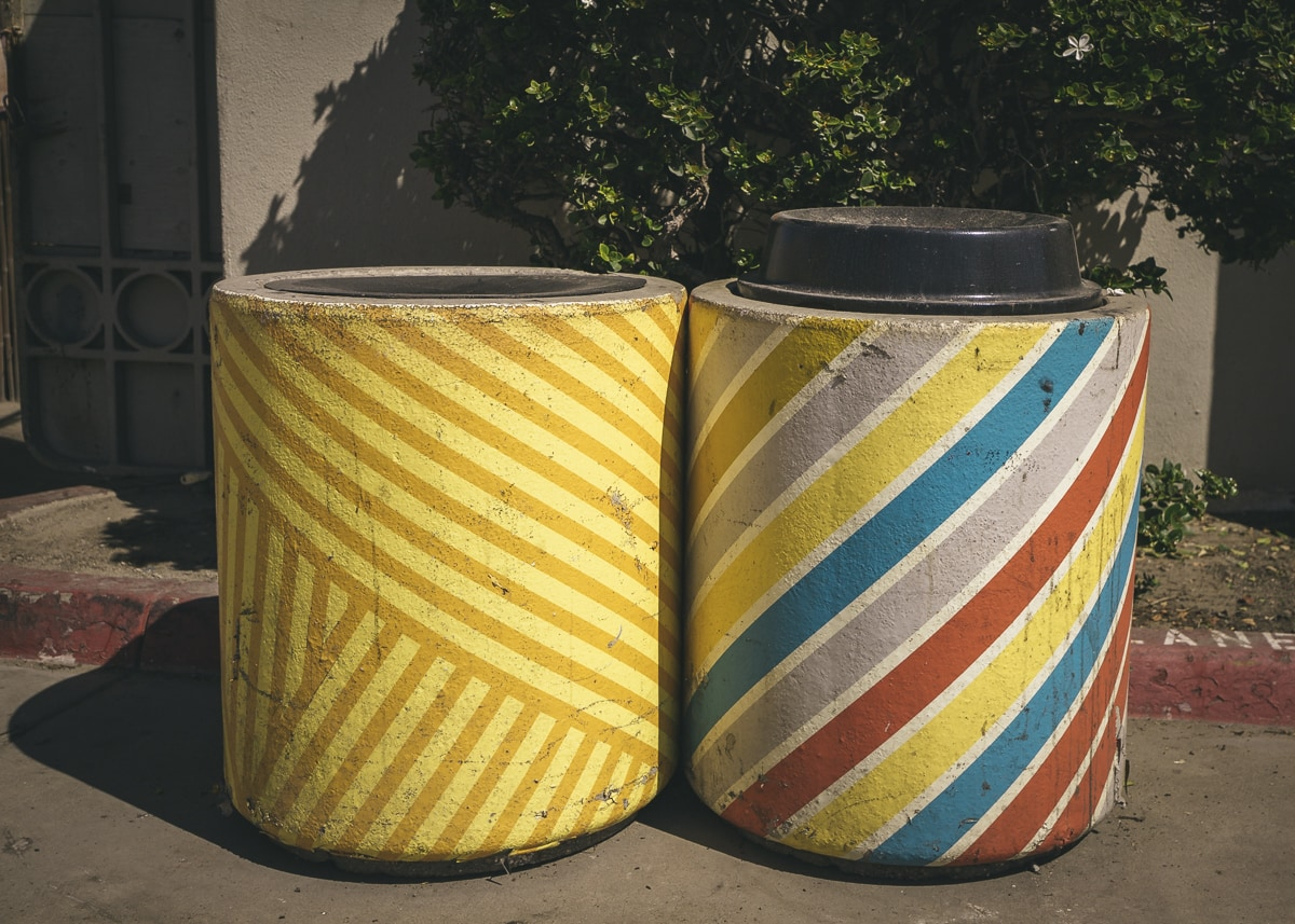 Colorful trash cans at Ocean Beach, San Diego