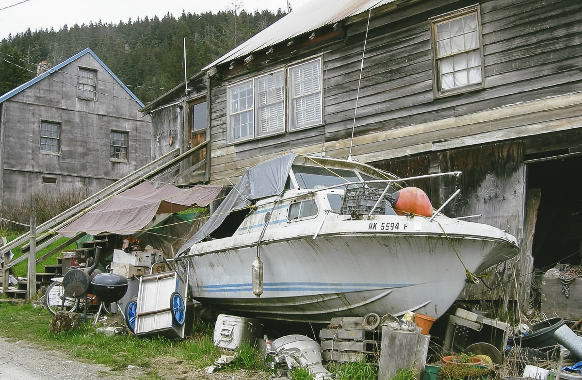 Old boat and house in Hoonah