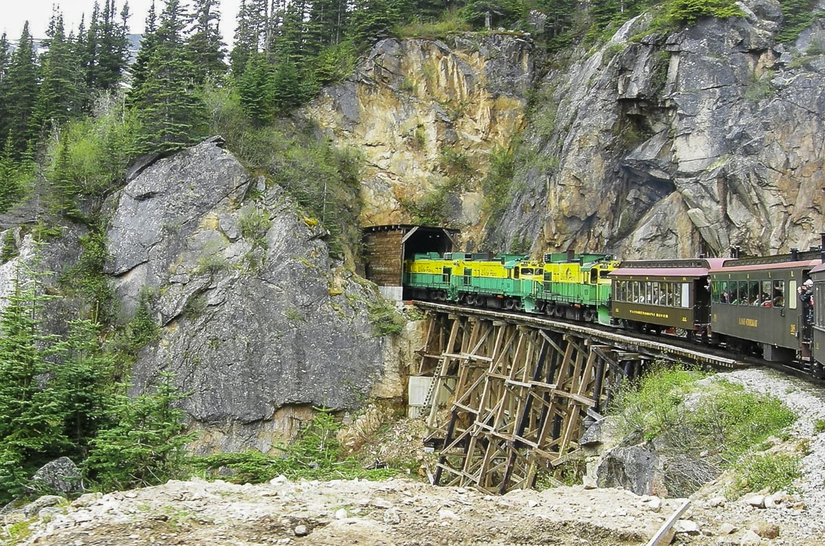 Train gong into a tunnel in Juneau, Alaska