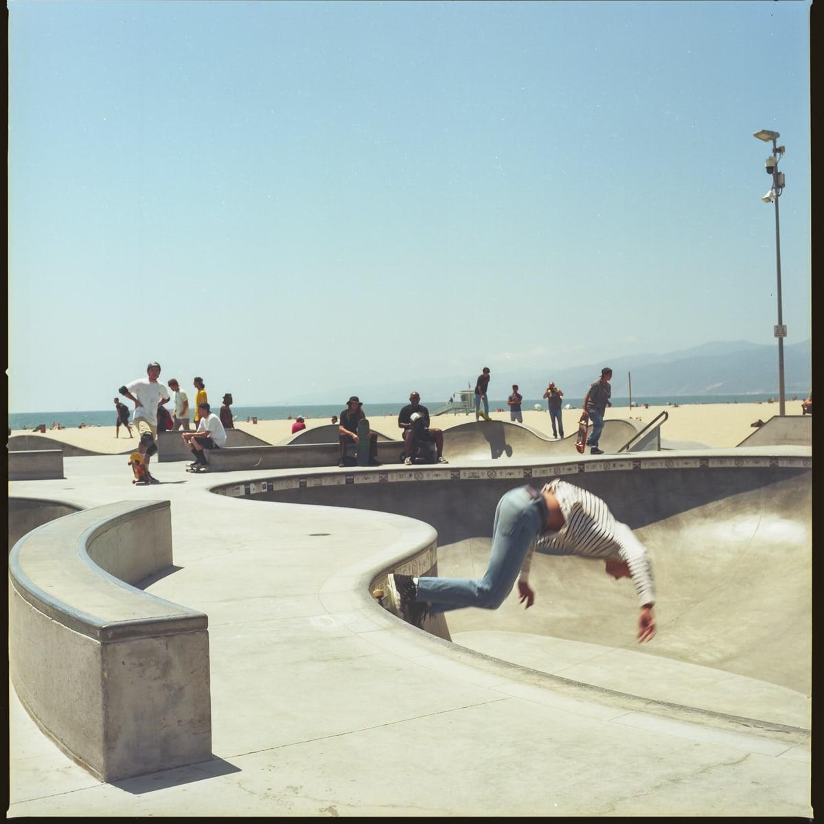 Skateboarders at the Venice Beach skatepark