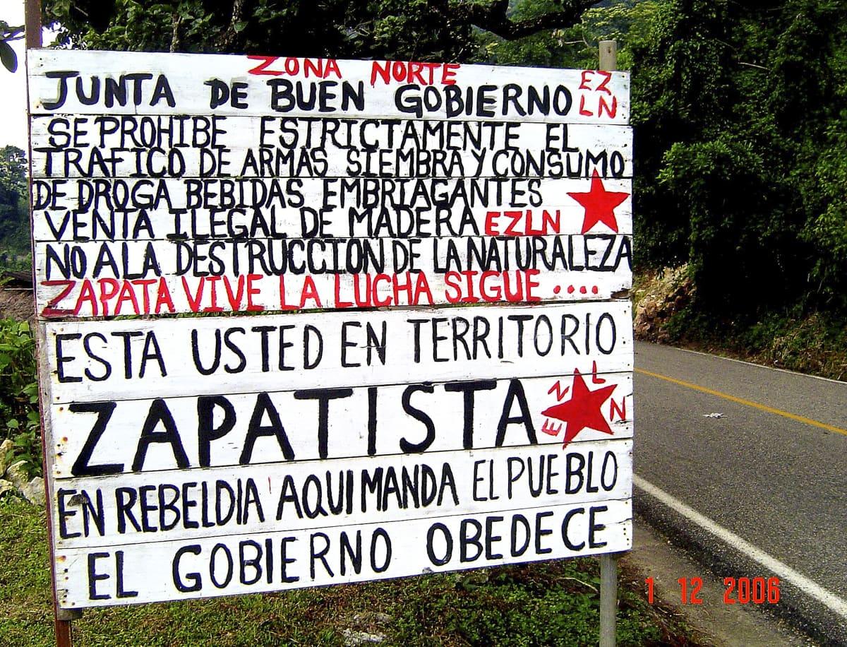 Zapatistas Territory sign in Chiapas, Mexico