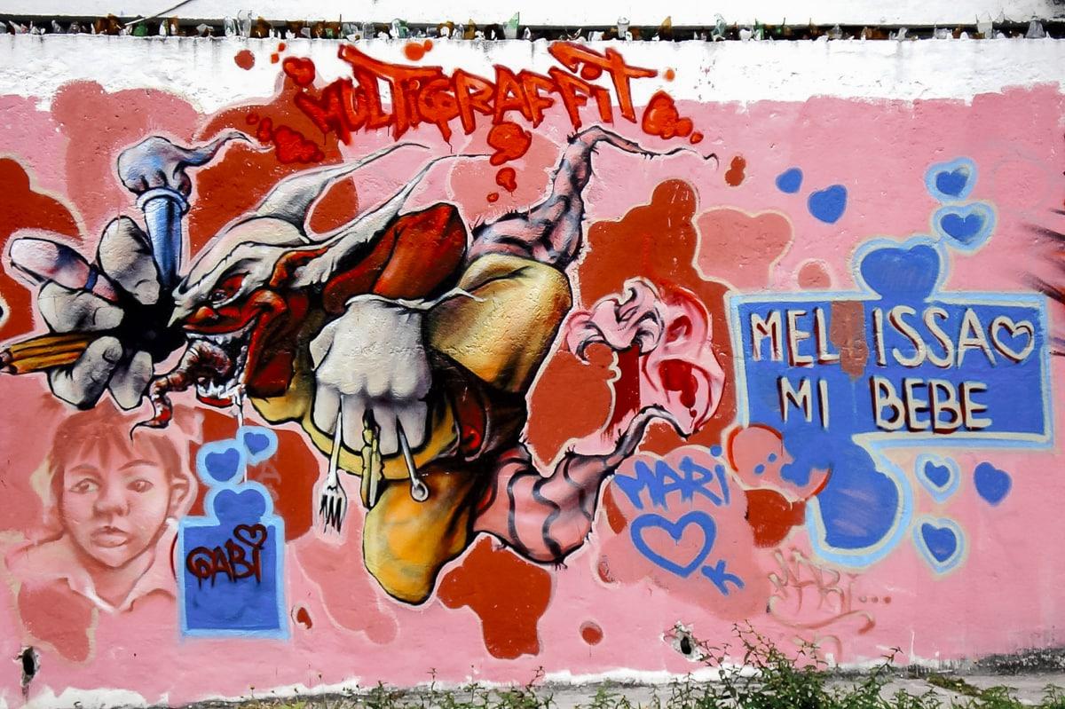 A crazy clown mural in Cancun