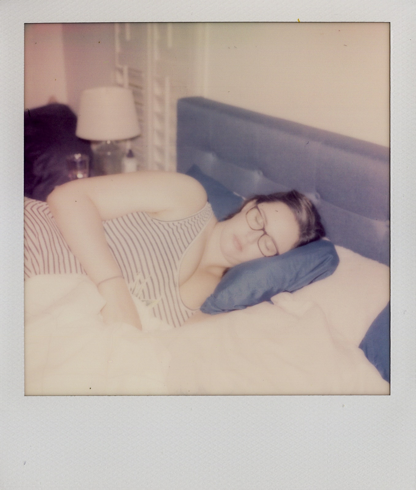 Andrea taking a nap Polaroid photos