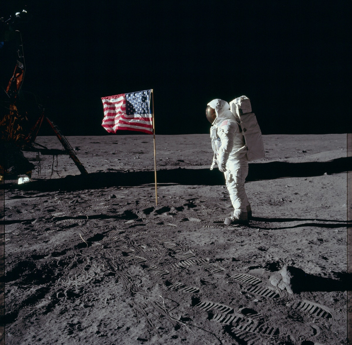 Memorable photo of Buzz Aldrin saluting the U.S. flag on the moon on July 20, 1969 by Neil Armstrong—NASA,