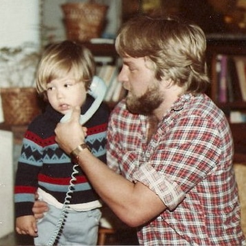 Dad and I on the phone
