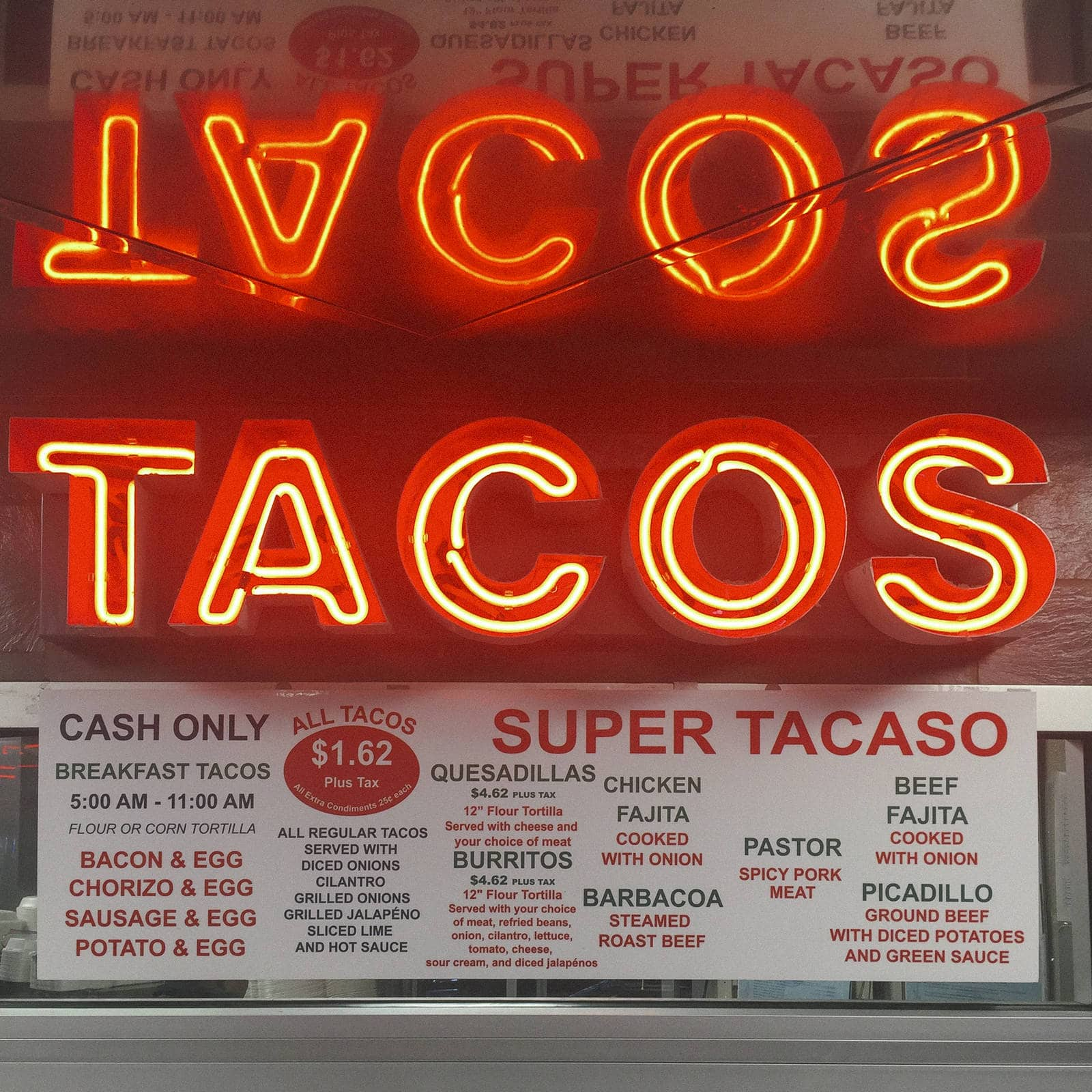 Photos People Remember: Neon Taco sign reflection