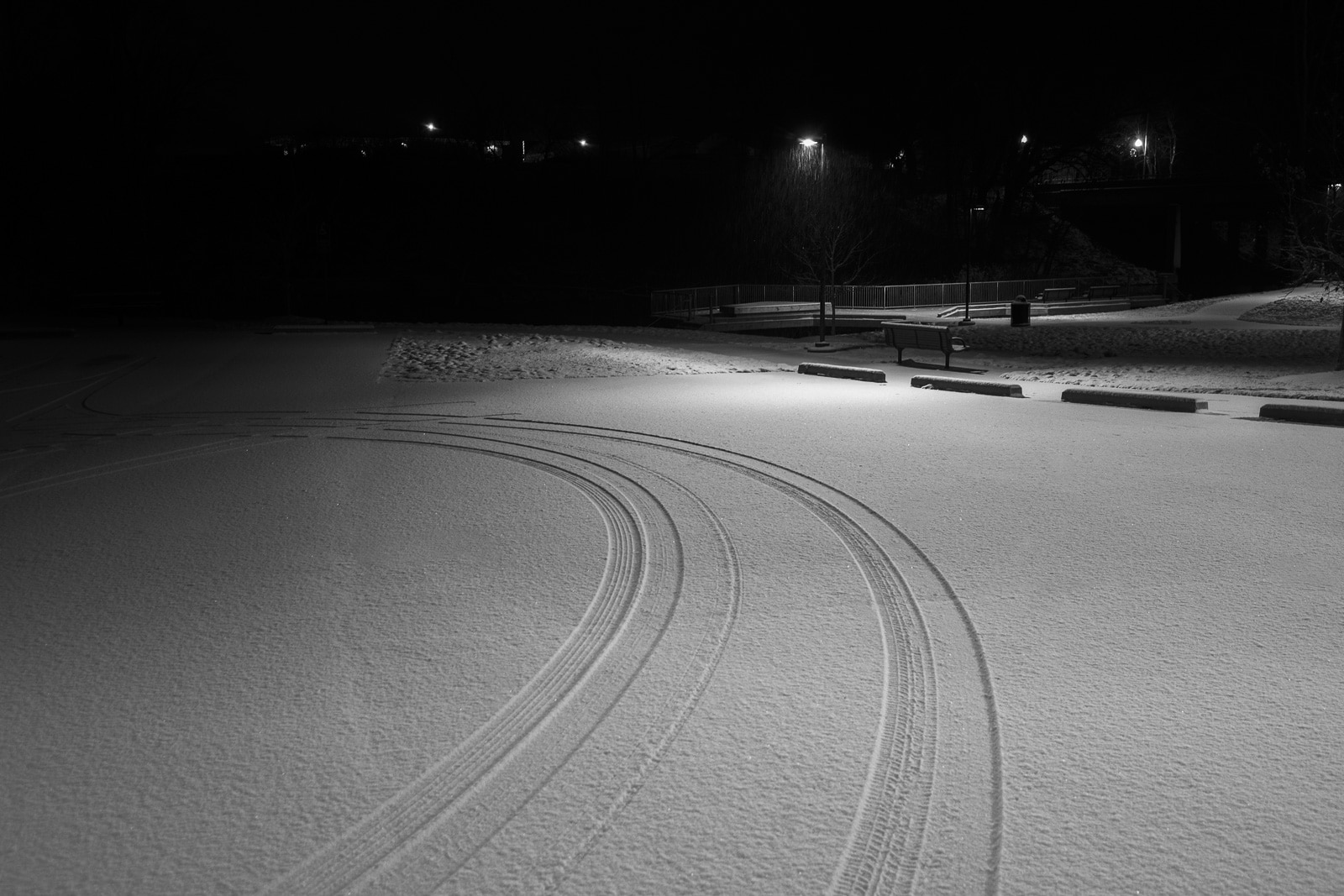Tire tracks left by a teenage couple hiding in the darkness