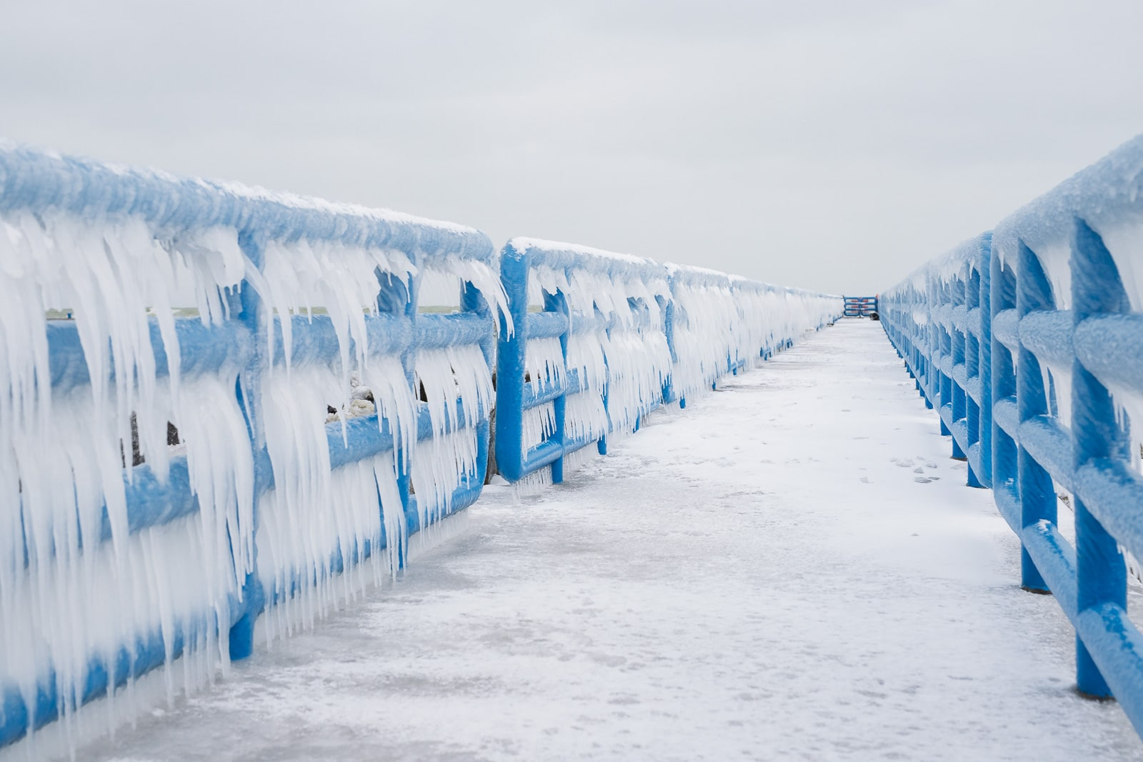 Frozen rails at Holland State Park Beach