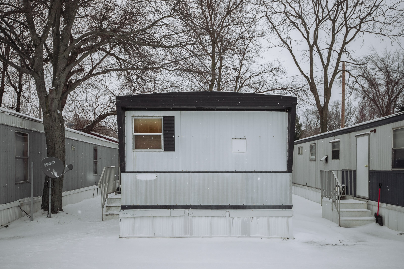 Trailer park covered with snow in Holland, Michigan