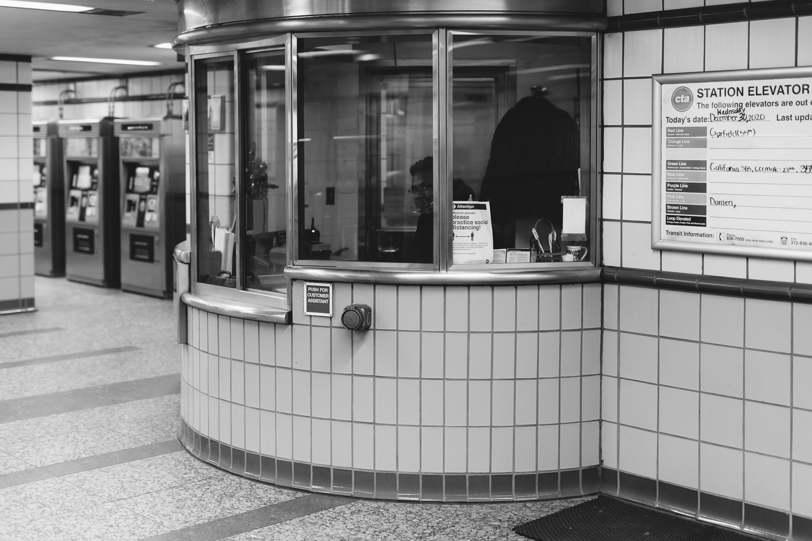 Ticket counter for the L train in Chicago