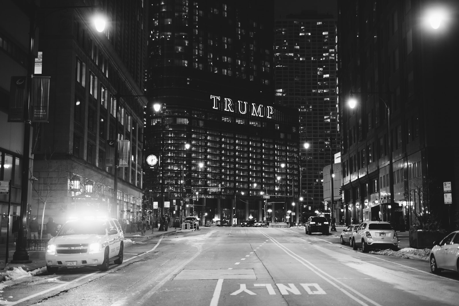 Trump building and the empty streets of Chicago at Night, 2020