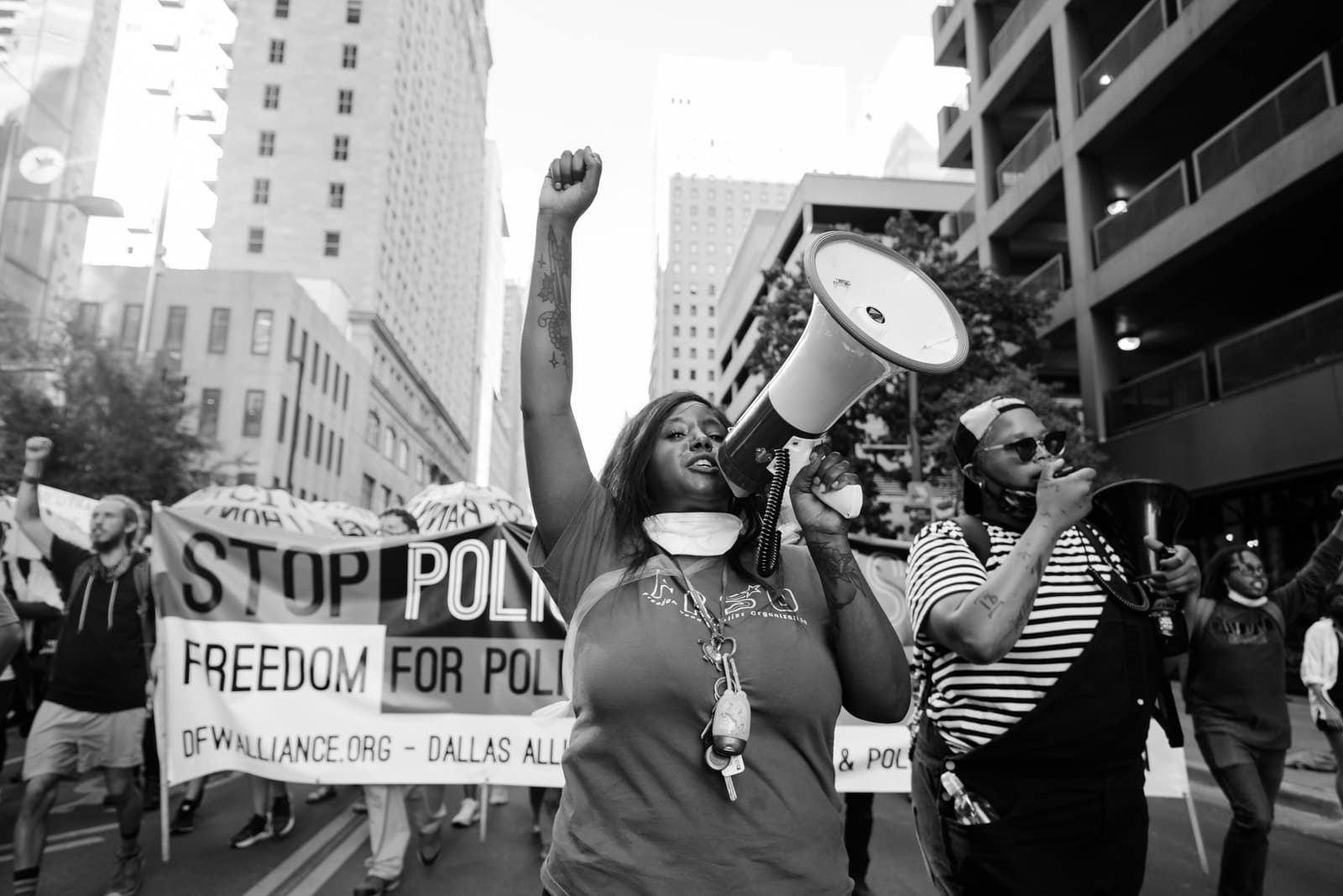 Civil rights activists marching through downtown Dallas against racial injustice. My best photo of 2020.