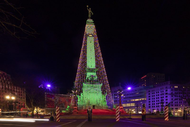 Indianapolis World's Largest Christmas Tree at Night