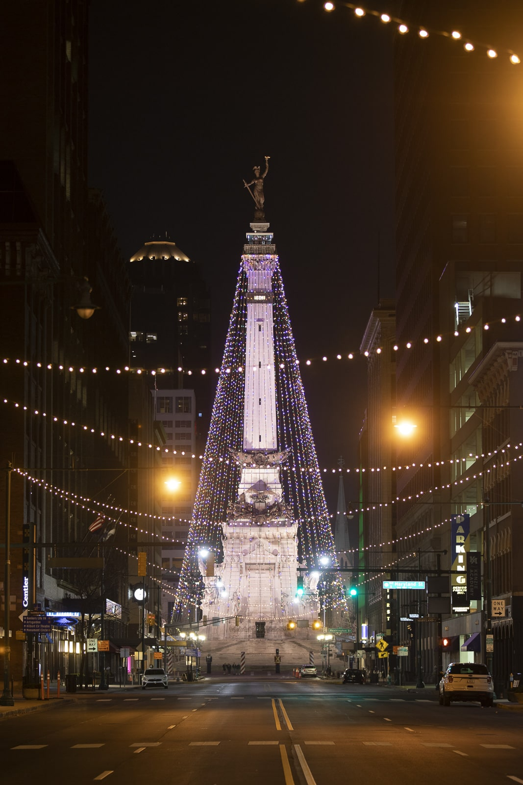 The World's Largest Christmas Tree in Indianapolis at Night