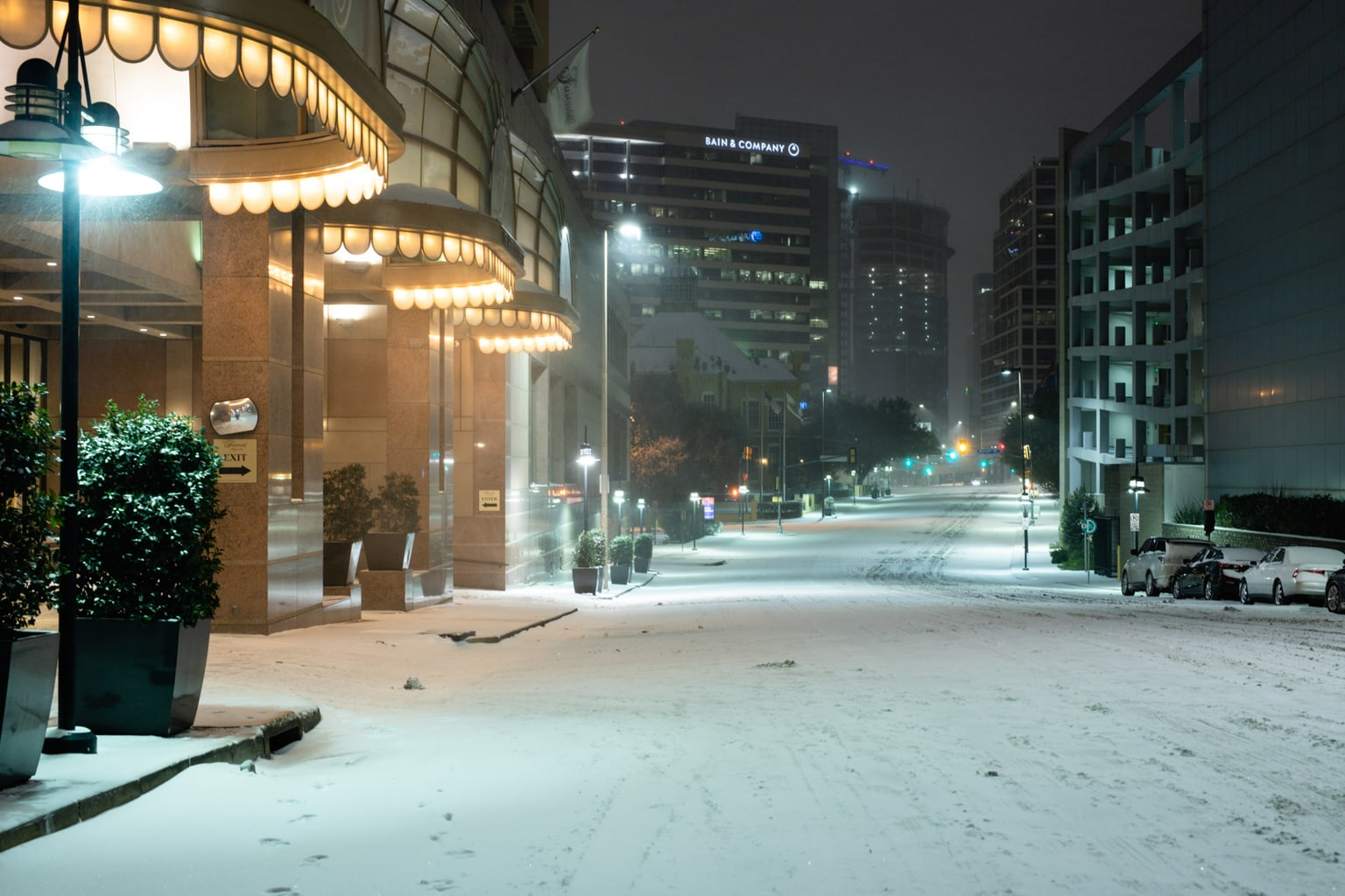 Snow covered Akard Street in downtown Dallas