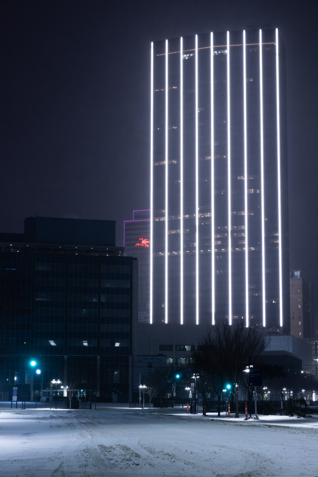 First National Bank Tower lights at night in the 2021 snowstorm
