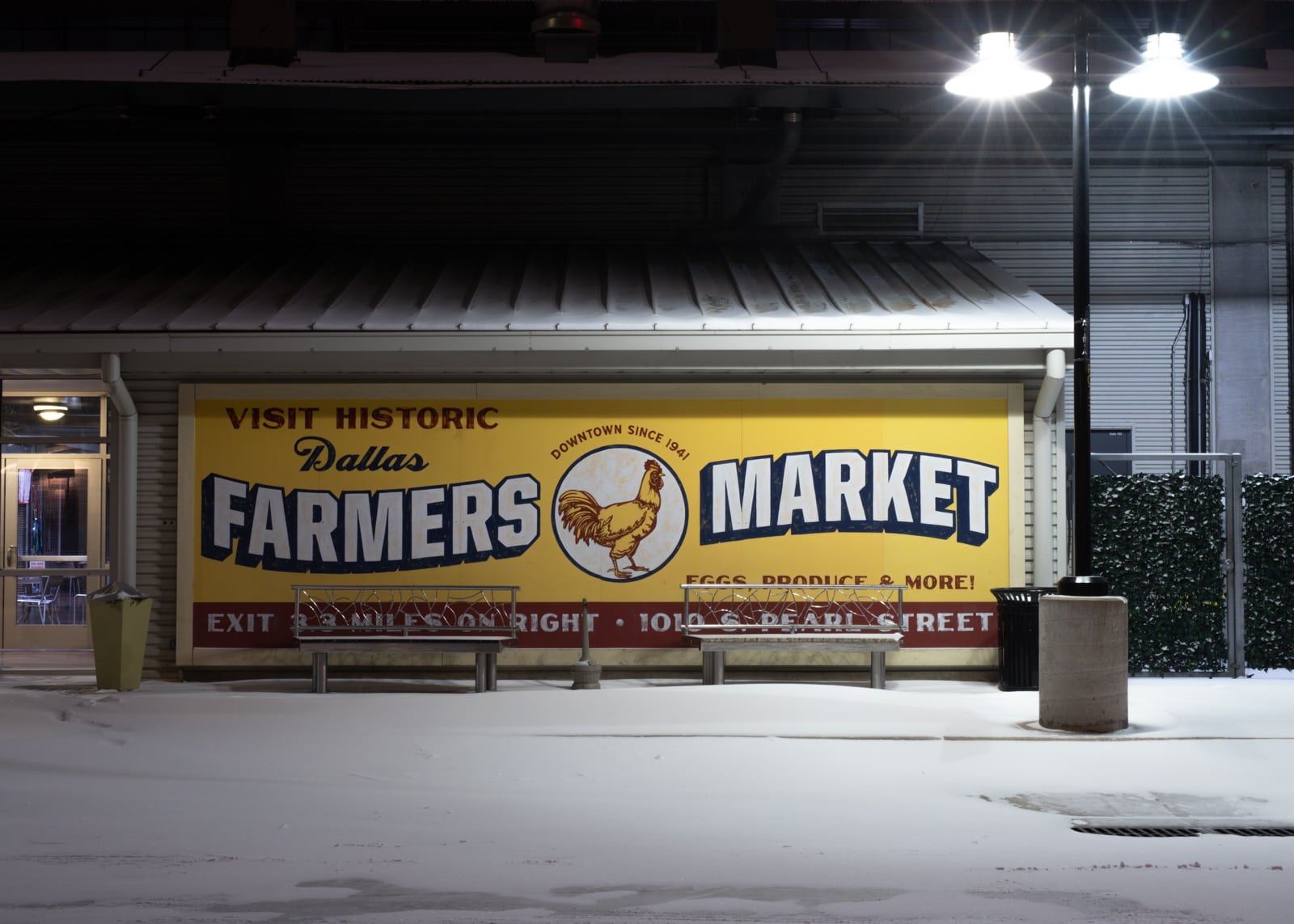 Dallas farmers market sign at night