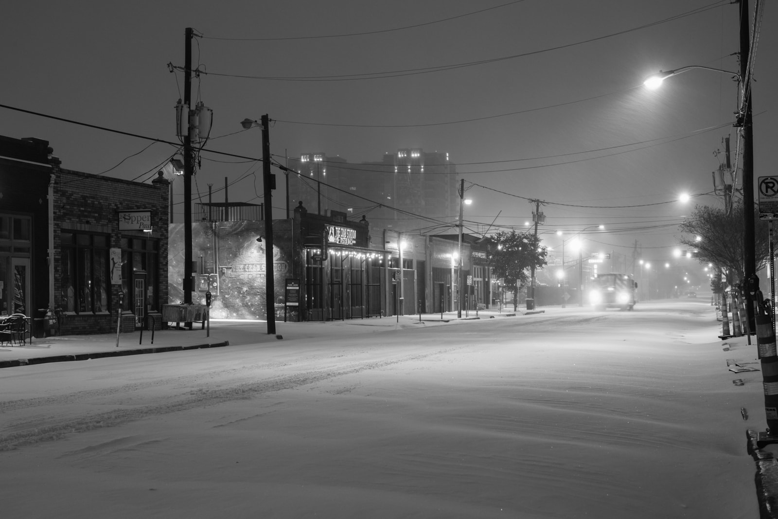 Deep Ellum at night in the snow