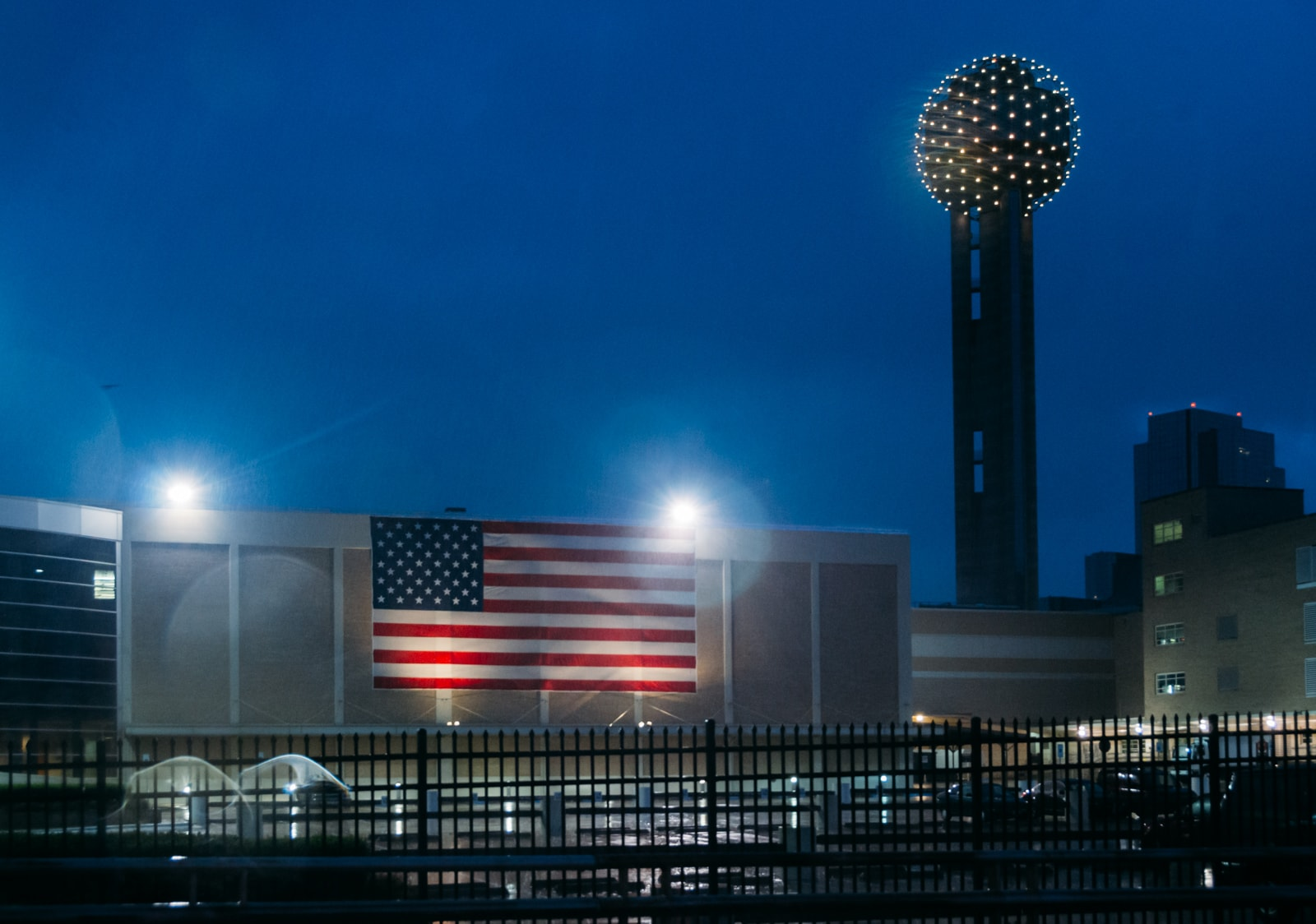 American Flag and Reunion Tower after a storm in Dallas