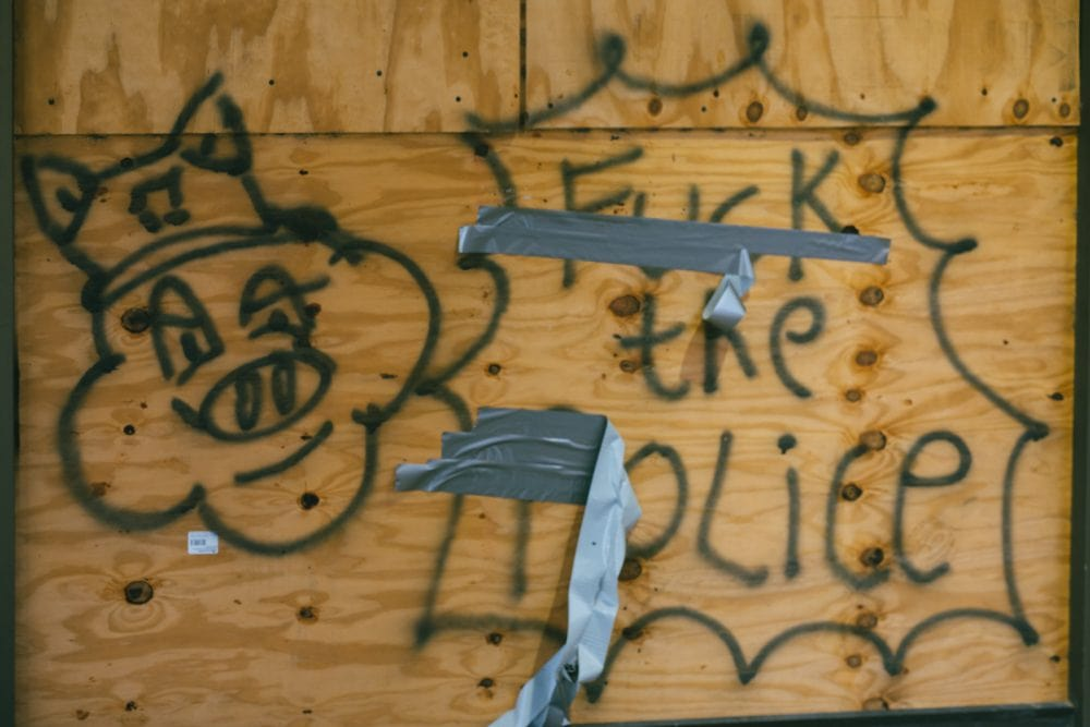 F the police graffiti from Black Lives Matter Protests