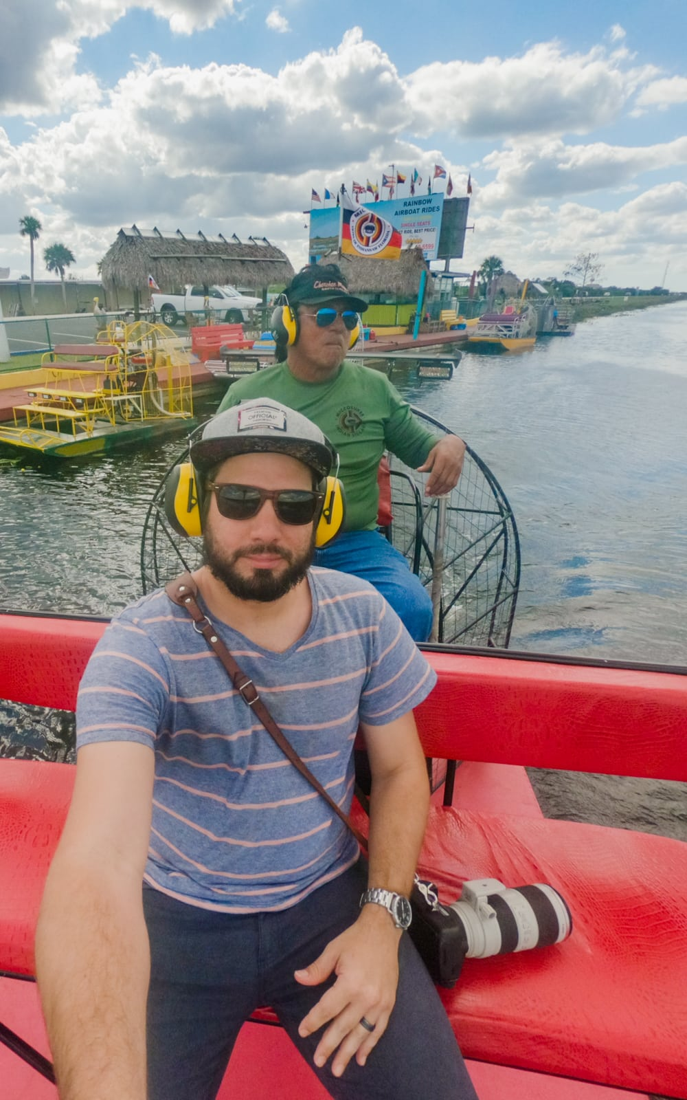 Matthew T Rader on an airboat tour in the Everglades