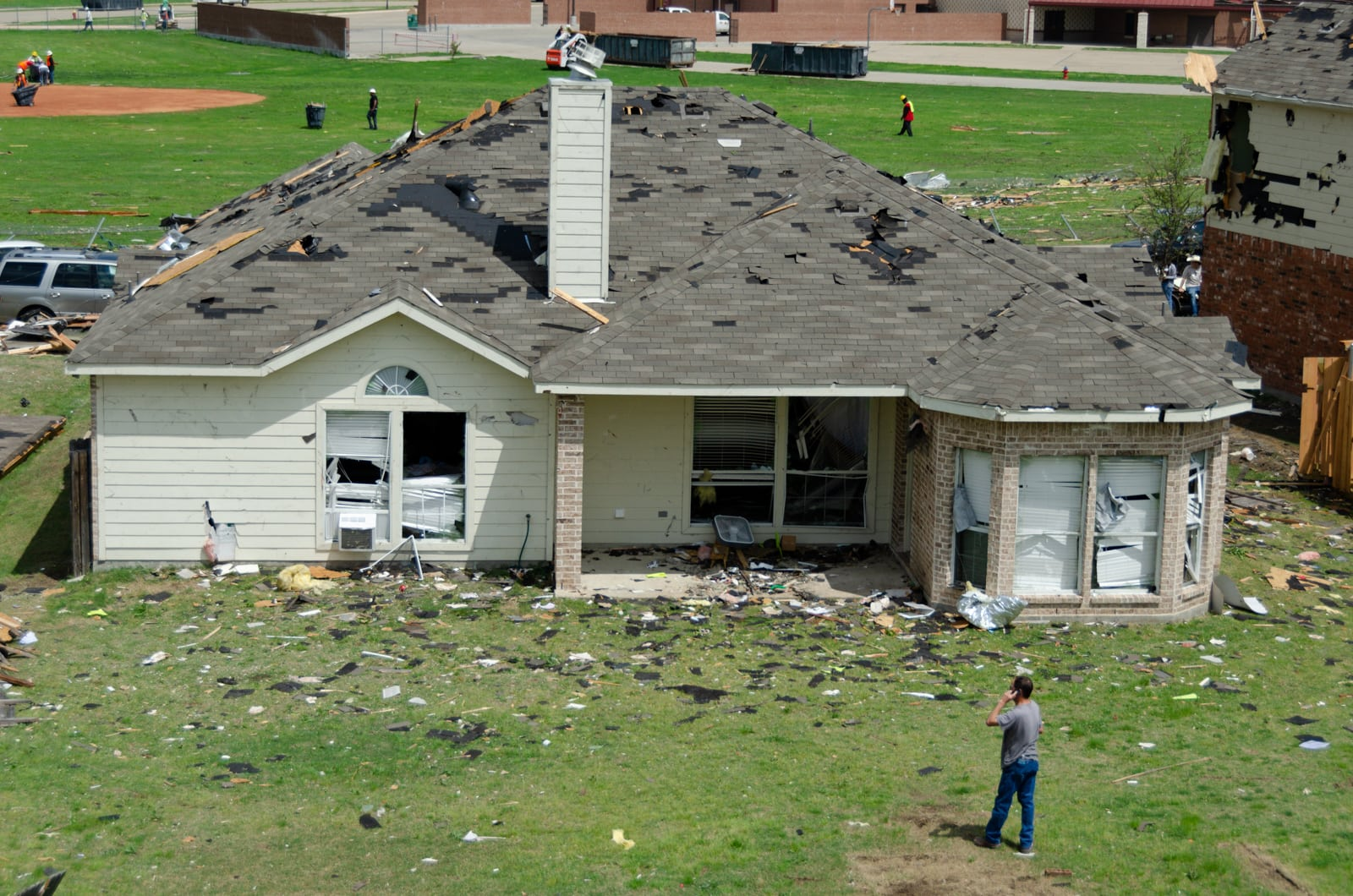A damaged house in the Diamond Creek subdivision