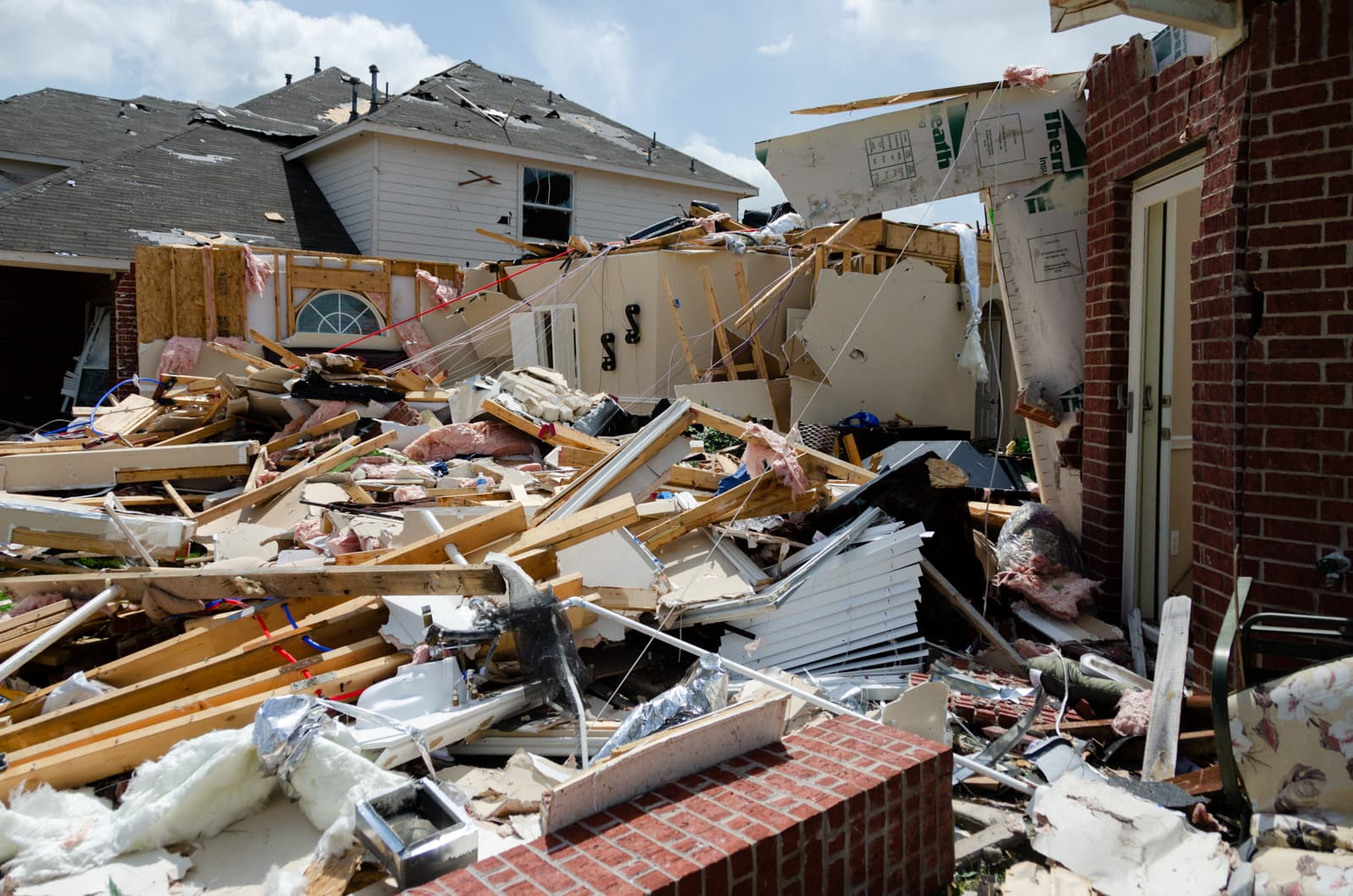 A pile of rubble from a fallen home after the Forney Tornado