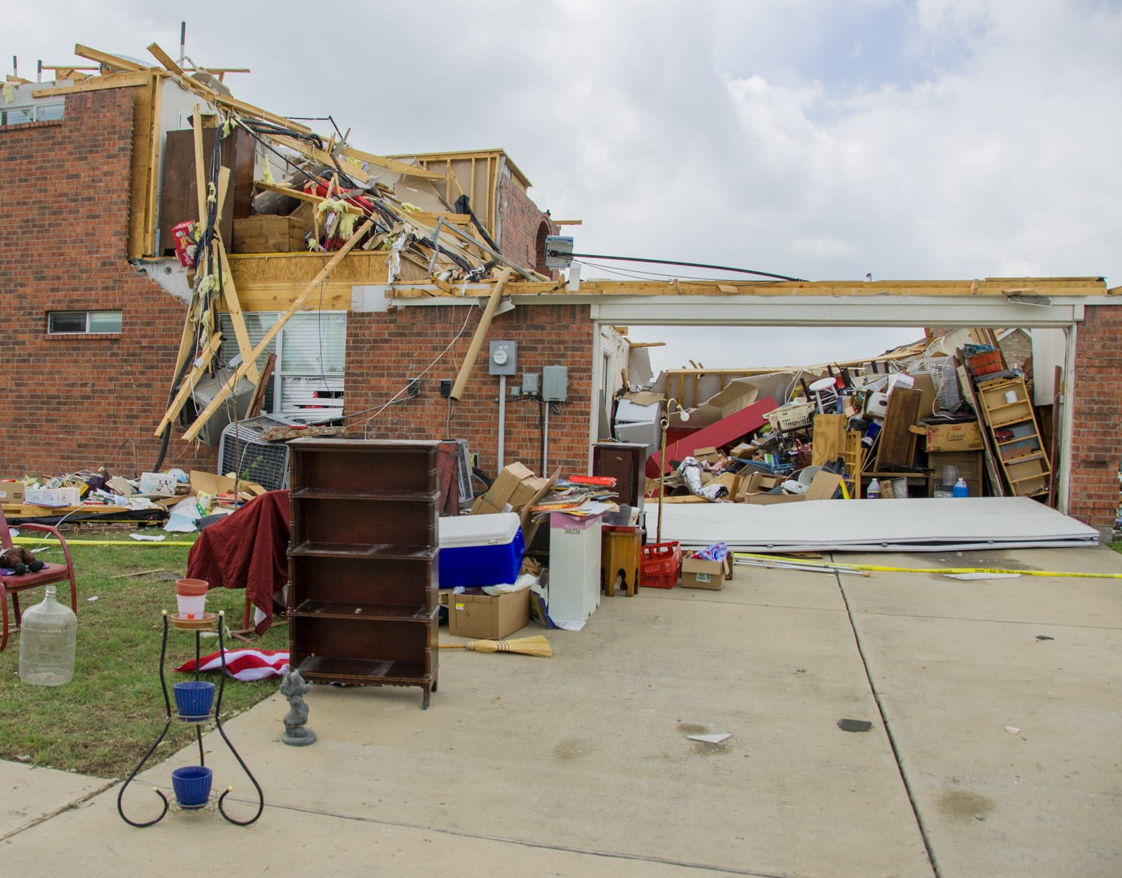 A house destroyed by the Forney tornado