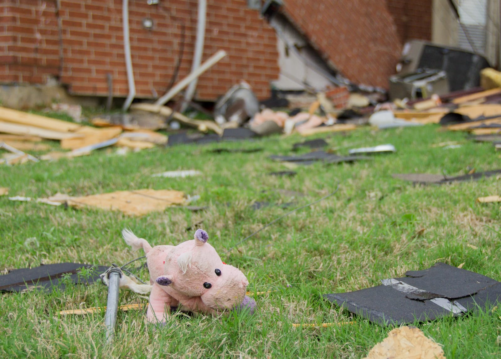 A child's toy thrown by the tornado