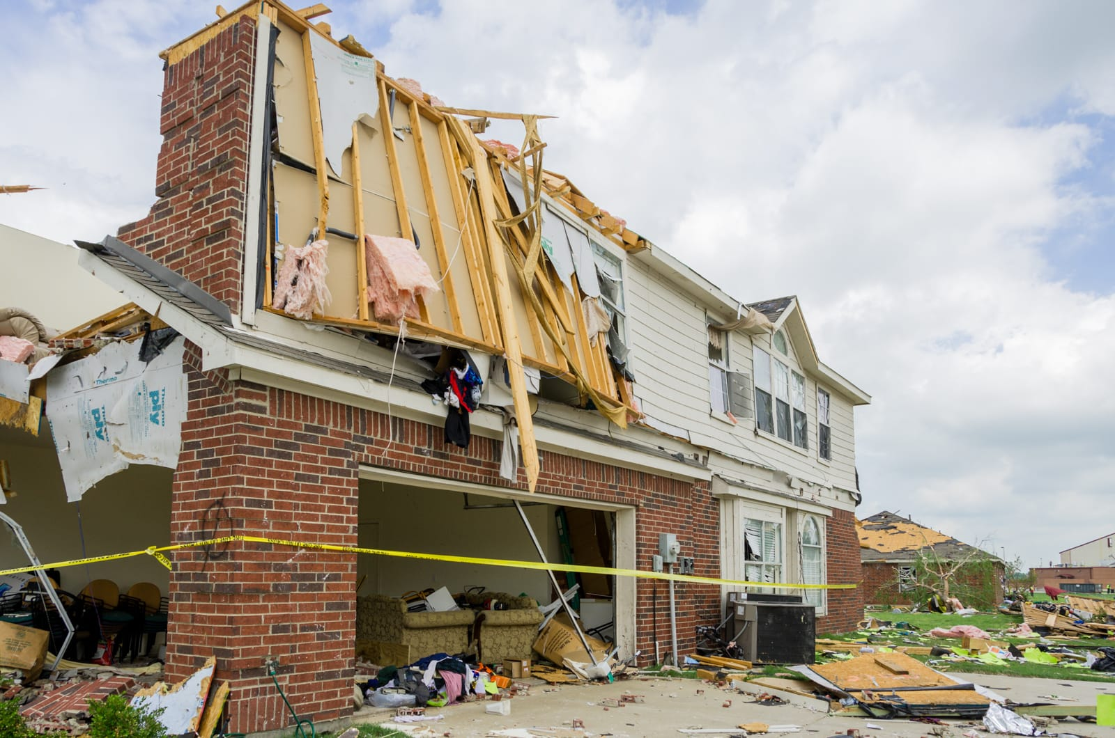 A house destroyed by a tornado