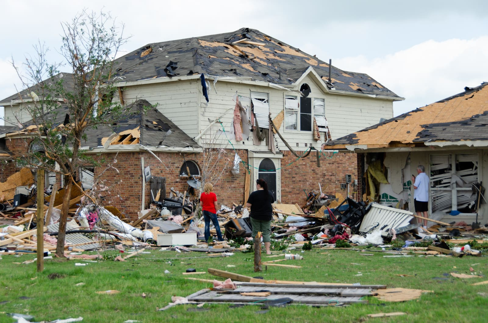 A severely damaged home